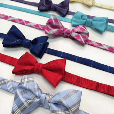 line of colorful bow ties